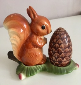 1960s Goebel squirrel and pine cone salt and pepper set