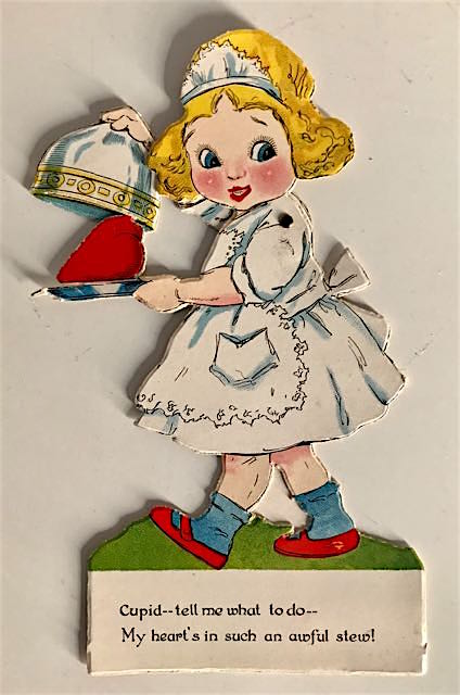 image of maid holding serving dish containing a heart.
