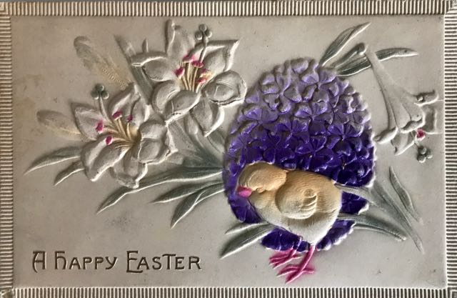 Easter card with flower, egg and chick