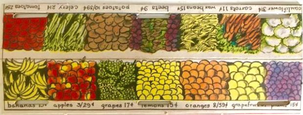 illustration of vegetable and fruit boxes such as apples and carrots