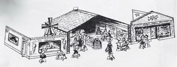 black and white illustration of a fictional shopping mall.